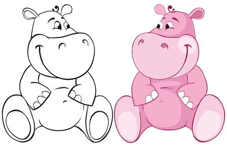 hippopotamus: Behemoth Rosa. Ilustraci�n de color y contorno Vectores