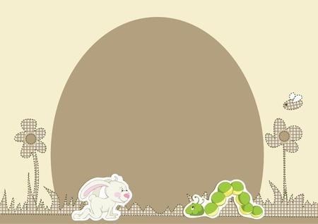 children caterpillar: Flower background with rabbit and caterpillar