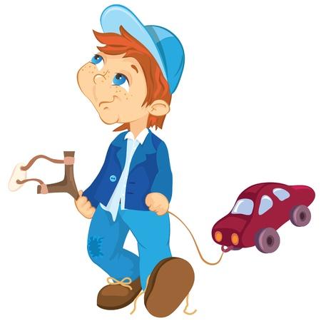 slingshot: Naughty boy and toy car. Cartoon illustration.