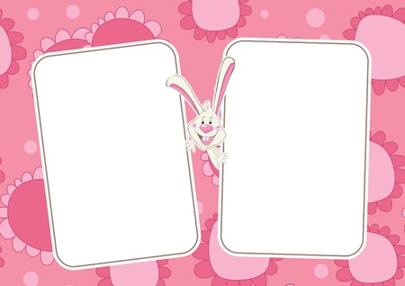 Floral baby rabbit frame for photo album Vector