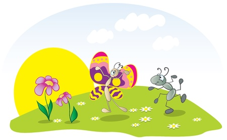 Dancing ant and butterfly on the lawn Vector