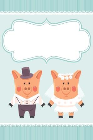 marry: piggies newlyweds.  Illustration