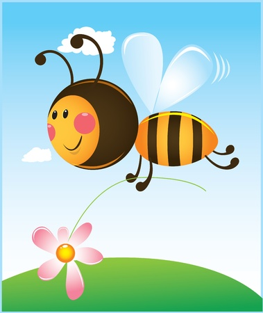 bee and flower. color illustration Stock Vector - 10913364