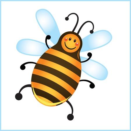 funny bee in frame. cartoon illustration Stock Vector - 10913369