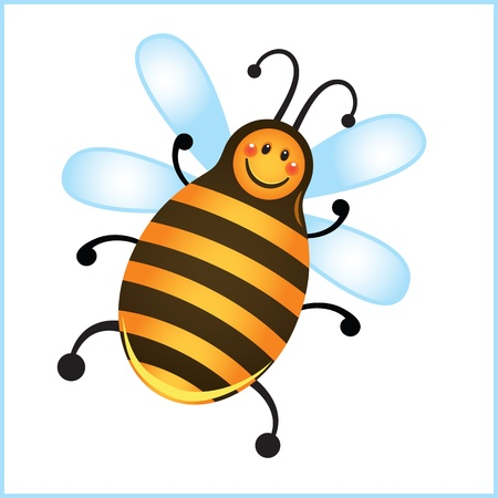 funny bee in frame. cartoon illustration Stock Vector - 10913369