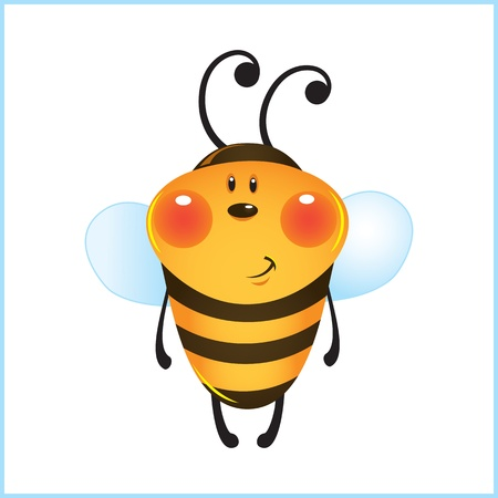funny bee in frame. cartoon illustration Stock Vector - 10913363