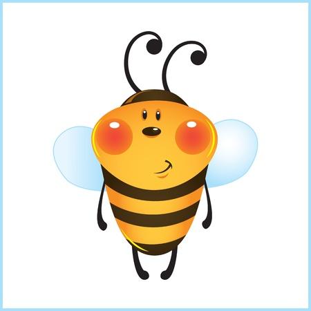 funny bee in frame. cartoon illustration Vector