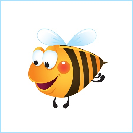 funny bee in frame. cartoon illustration Stock Vector - 10913370