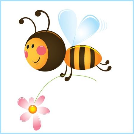 abeja caricatura: Divertido de la abeja y la flor en el marco. Ilustración de dibujos animados Vectores