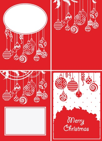 Four christmas balls backgrounds Vector