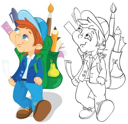 idzie: Chłopak z plecakiem idzie do szkoły. Kolor i ilustracji outline