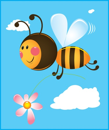 Bee and flower. Color illustration Stock Vector - 10999258