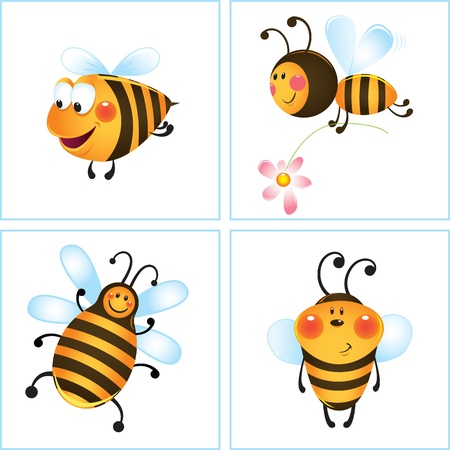 Funny bee and flower in frame. Cartoon illustration