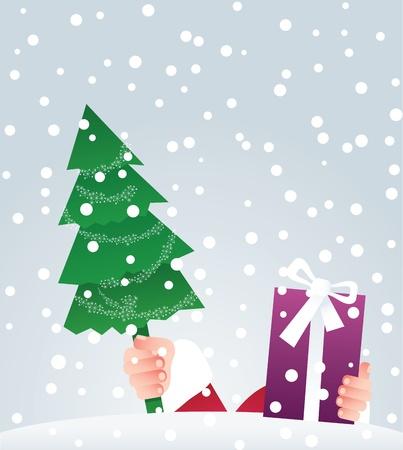 snowbank: Santa  puts gifts on top of snowbank Illustration