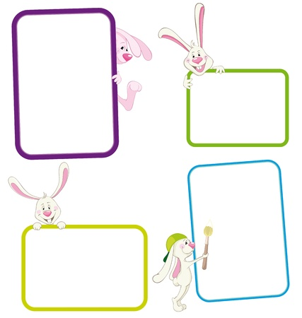 Set of frame with rabbit  Vector