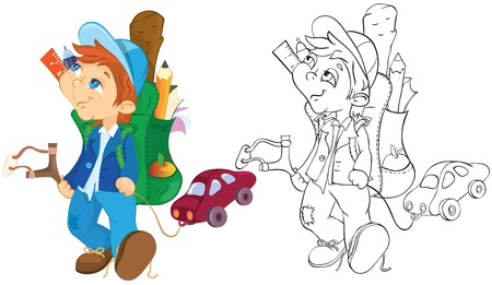 Naughty boy and toy car. Color and outline illustration. Vector