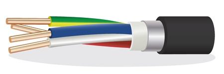 cables electricos: La imagen de cuatro hilos cable blindado de cobre el�ctrica Vectores