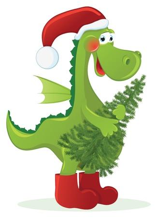 christmas dragon: Chinese New Year Dragon with Christmas tree Illustration