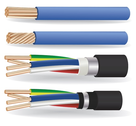 power cable: The vector image of 1-wire and 4-wire armored electric copper cables