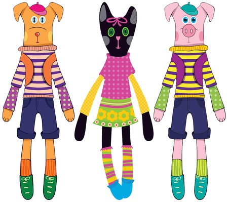 Doll dog, cat and pig Vector