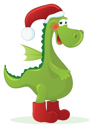 year of the dragon: New Year Dragon - Santa  Claus Illustration