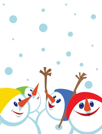 copying: Christmas card with snowmansSpace for copypaste