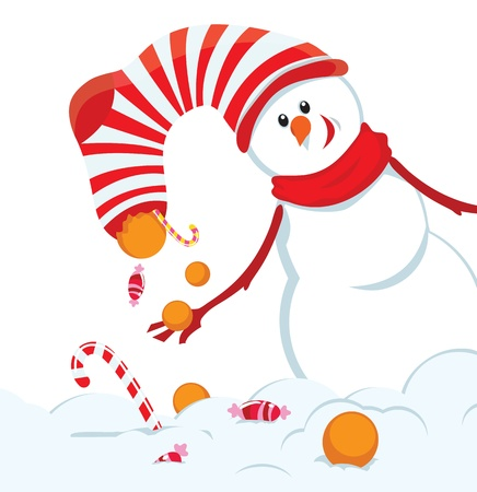 candy cane background: Christmas card with snowman