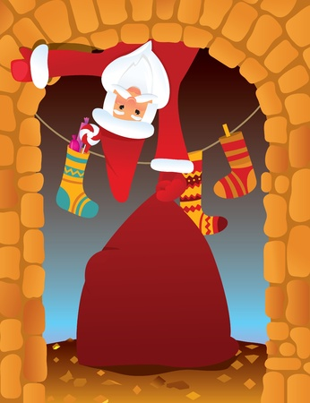 Santa Claus in the fireplace on Christmas eve Vector