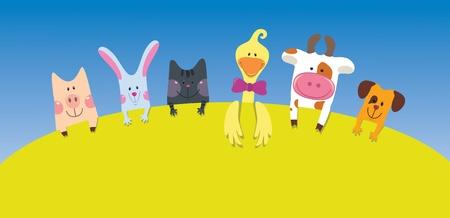 Animales de la granja de dibujos animados de tarjetas