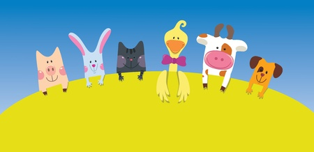 Cartoon farm animals card  Vector