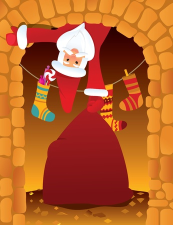 Santa Claus and the chimney on Christmas eve Vector