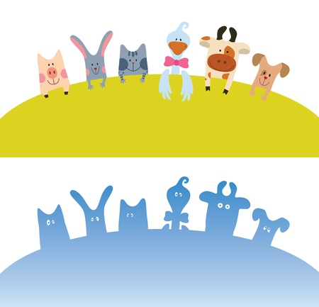 Cartoon farm animals card color and silhouette Illustration
