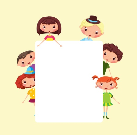 Cartoon children frame. EPS10. Contains transparent objects used for shadows drawing Vector