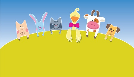 Cartoon farm animals. Day Vector