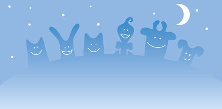 Cartoon farm animals. Night Vector