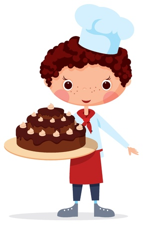 Scullion with cake. EPS10. Contains transparent objects used for shadows drawing Vector