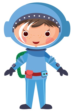 explore: Cartoon astronaut. EPS10. Contains transparent objects used for shadows drawing