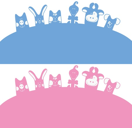 Cartoon farm animals silhouette card  Vector