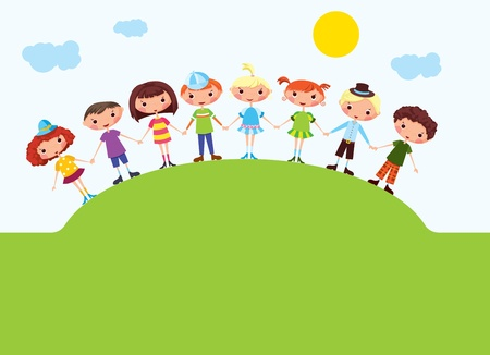 for boys: Cartoon boys and girls. EPS10. Contains transparent objects used for shadows drawing Illustration