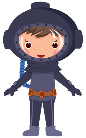 deep sea diver: Cartoon diver.EPS10. Contains transparent objects used for shadows drawing Illustration