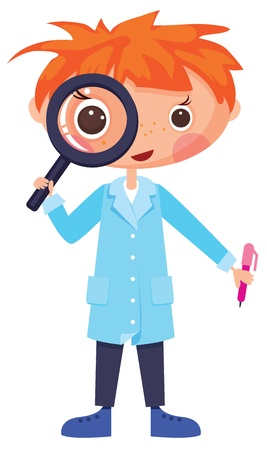 Cartoon scientist and magnifying glass. Contains transparent objects used for shadows drawing Vector