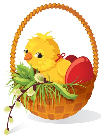 cartoon easter: Easter card. Chicken and eggs in basket with sprig of willow