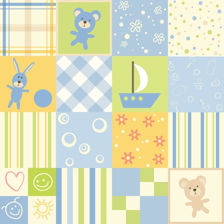 Baby seamless. Set of child patterns Vector