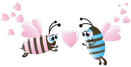 Valentines day. Two bee and hearts Vector