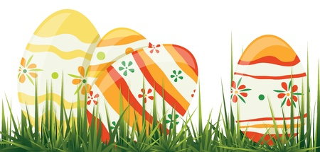 Easter eggs in grass. Contains transparent objects used for shadows drawing Vector