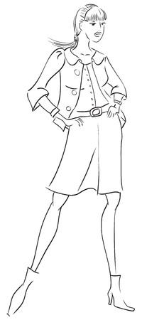 body outline: Sketch of girl Illustration