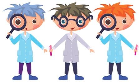 uitvinder: Cartoon wetenschappers en vergrootglas
