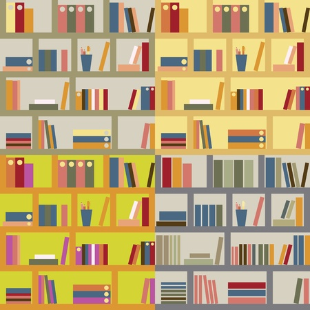 Bookshelf  Four seamless backgrounds Vector