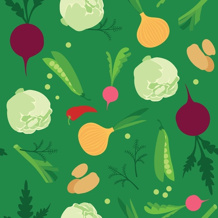 Vegetable seamless pattern Vetores