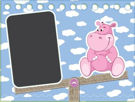 Hippo on the swing  Children frame for baby photo album Vector